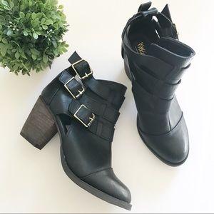 Mission • Black Vegan Leather Buckle Booties